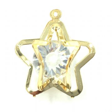 Caged star with crystal inside - 27mm -Gold